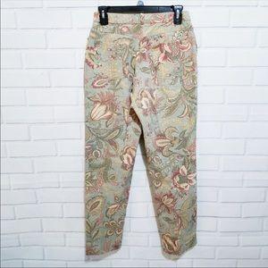 J. McLaughlin Capri Leaf Print High Rise Pants